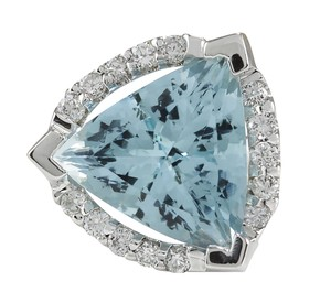 Fashion Strada 6.09CTW Natural Aquamarine And Diamond Ring In 14K Solid White Gold