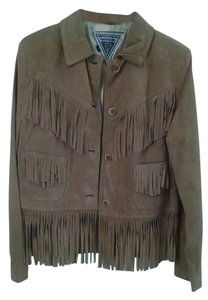 J. PERCY FOR MARVIN RICHARDS Suede Tassels Fringe Hem Brown Gold Leather Jacket