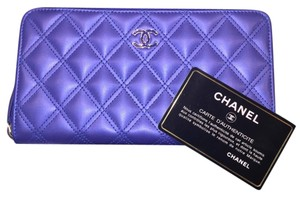 Chanel Double Quilted Metallic/Iridescent Calfskin SHW CC NEW! FULL SET