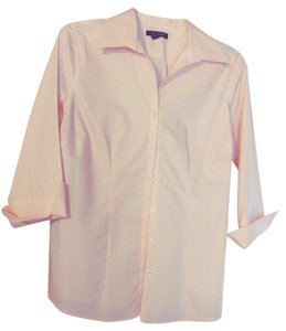 Lands' End Fitted Blue No Iron Button Down Shirt Pink