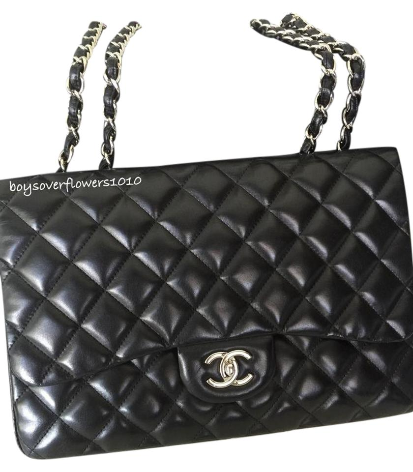 03a22cf29794 Chanel Classic Flap W Classic Quilted Jumbo Single W/Shw Black ...