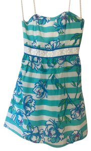 Lilly Pulitzer short dress Blue Silk Pattern Stripe Preppy on Tradesy