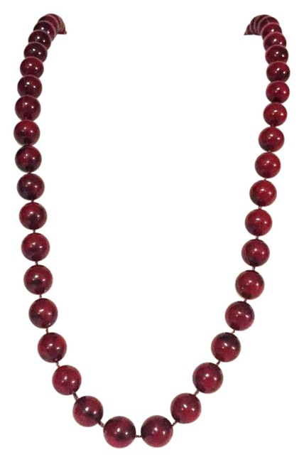 Item - Red Vintage Plastic Bead Strand Gold Tone By Necklace