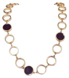 Jones New York vintage gold tone fold over clasp disc resin necklace circle chain link