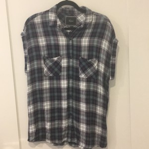 Rails Button Down Shirt Navy/White check with mint/pink inline