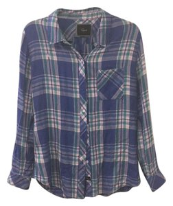 Rails Button Down Shirt Violet/Mint with white/pink inline check