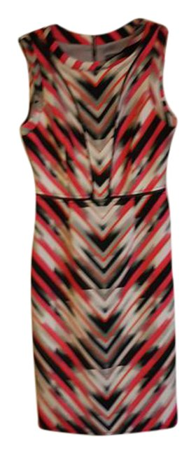 Item - Black Red Gray V-stripe and Sleeveless Mid-length Work/Office Dress Size 2 (XS)
