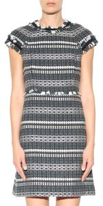 Tory Burch Green White Tweed Fringe Dress