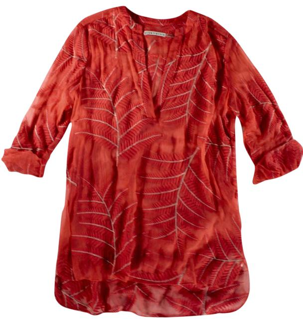 "Item - Coral Sheer ""Leaf Embroidered"" Silk Blouse / - M Tunic Size 8 (M)"