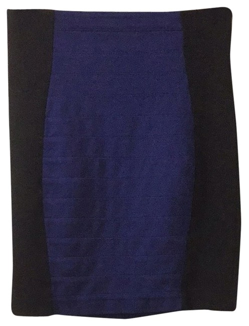 Express Pencil Above Knee Color-blocking Color Block Work Career Going Out Dinner Party Date Night Girls Night Pencil Zara Skirt Blue Black
