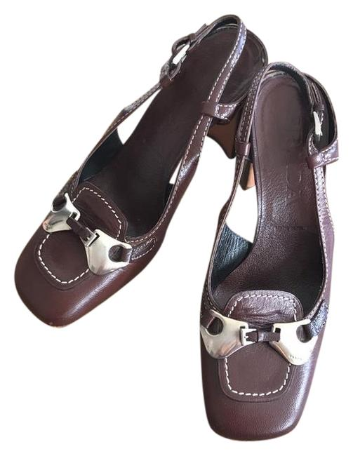 Item - Brown Leather with Metal Buckle and Straps Mules/Slides Size US 5.5 Regular (M, B)