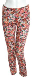 Zara Floral Leggings Pink Stretch Blue Stretch Large Leggings Skinny Pants RED