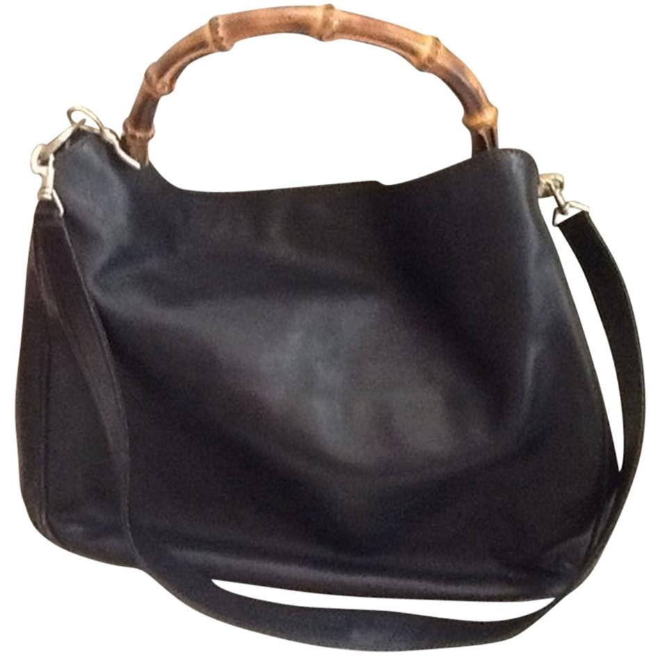 144464bf58fc58 Gucci Black Leather Great Classic with Trademark Bamboo Handle Shoulder Bag