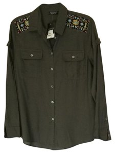 Topshop Button Down Shirt khaki