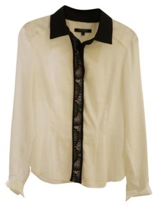 Nanette Lepore Blouse Lace Black White Button Down Shirt White/Black