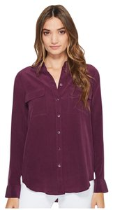 Equipment Blouse Silk Button Down Shirt Maroon