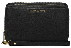 Michael Kors Michael Kors Adele Double-Zip Leather Wallet Black