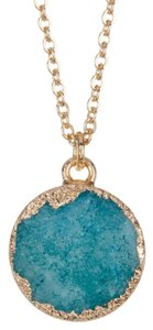 BaubleBar Turquoise and Gold Petite Druzy Pendant