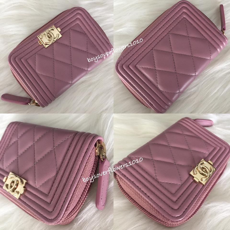 dc8233d24dc3 Chanel Mauve Pink Lambskin Quilted Boy O Zip Coin Purse Card Holder Wallet  Image 11. 123456789101112