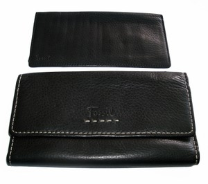 Fossil Popstitch Pebbled Leather Trifold Checkbook Clutch SL8635
