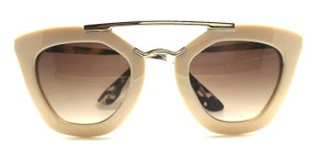 ELLE CROSS ELLE CROSS CREAM GLOSSY AVIATOR RETRO BROWN LENS GOLD BROW SUNGLASSES