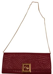 Versace Elegant Medusa Gold In Italy Burgundy Red Clutch