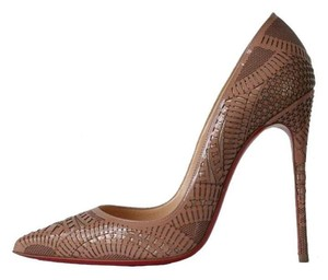 Christian Louboutin Kristali So Kate Laser Cut Pigalle Follies Nude Pumps