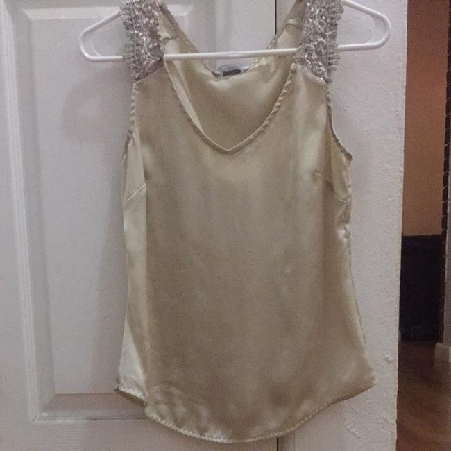 H&M Embellished Sequined Sleeveless Night Out Party Cocktail Office Professional Shirt Top Cream