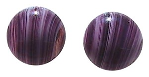 Vintage Button Amethyst Clip On Earrings