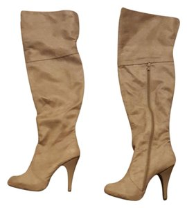 ShoeDazzle Brown Thigh High Beige Boots