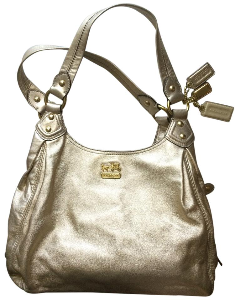 bcdcaf1a Coach 3 Compartment No. A1082-14336 Gold Leather Shoulder Bag - Tradesy