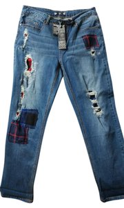 Tru Luxe Jeans Plaid Patchwork Distressed Crops Indigo Capri/Cropped Denim-Distressed