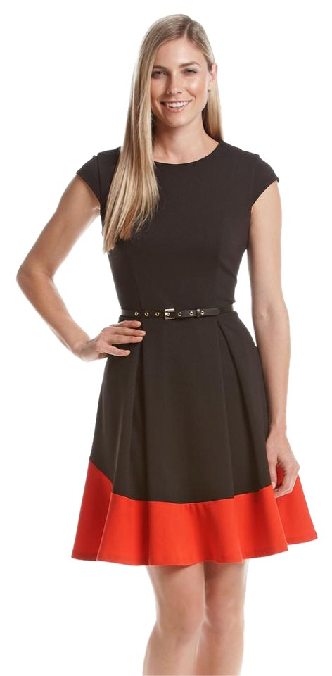 0cbf5d342e6 Calvin Klein Black Red Belted Fit and Flare Colorblock Work Office Dress