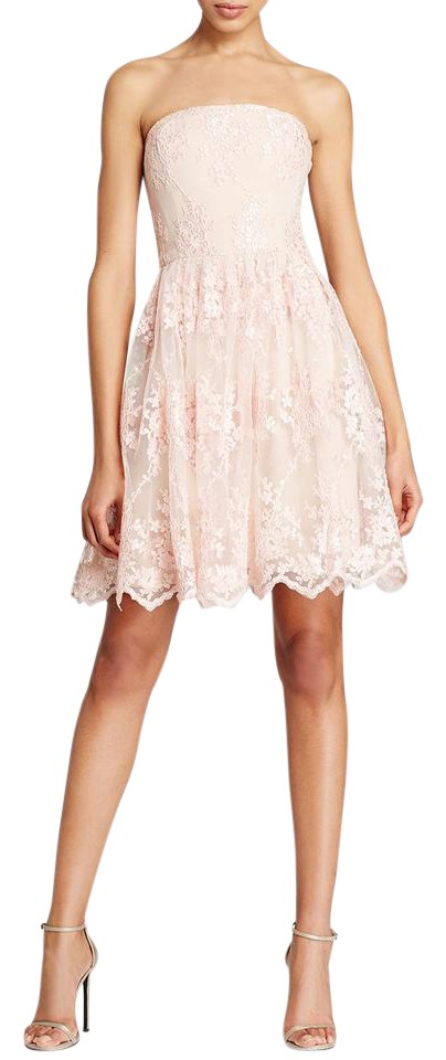 Vera Wang Pink Strapless Lace Tulle Short Cocktail Dress Size 6 (S ...
