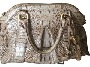 Brahmin Leather Metal Feet Satchel in Taupe