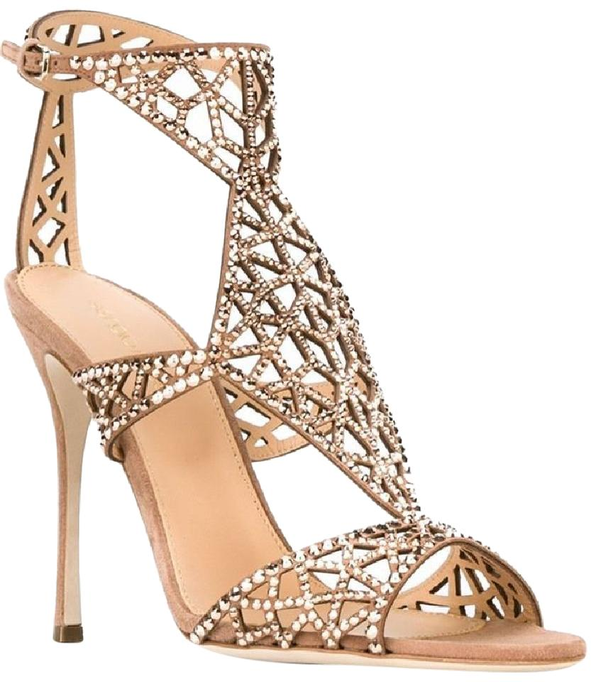 f96d66670 Sergio Rossi Nude  tresor  Swarovski Crystal and Suede Sandals Size ...