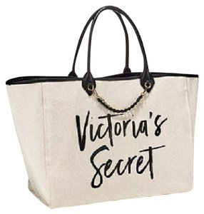 Victoria's Secret Chain Vs Signature Tote in Beige