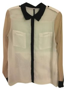 W118 by Walter Baker Button Up Sheer See Through Color-blocking Button Down Shirt white