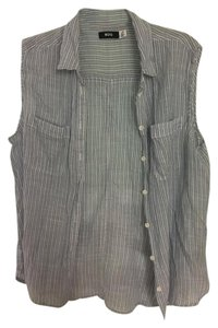 BDG Striped Tank Button Up Button Down Shirt light blue