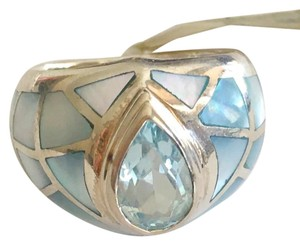 Other Stunning - Silver blue mother of pearl & topaz inlay ring