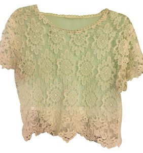 Urban Outfitters Lace See Through Sheer Floral Top white