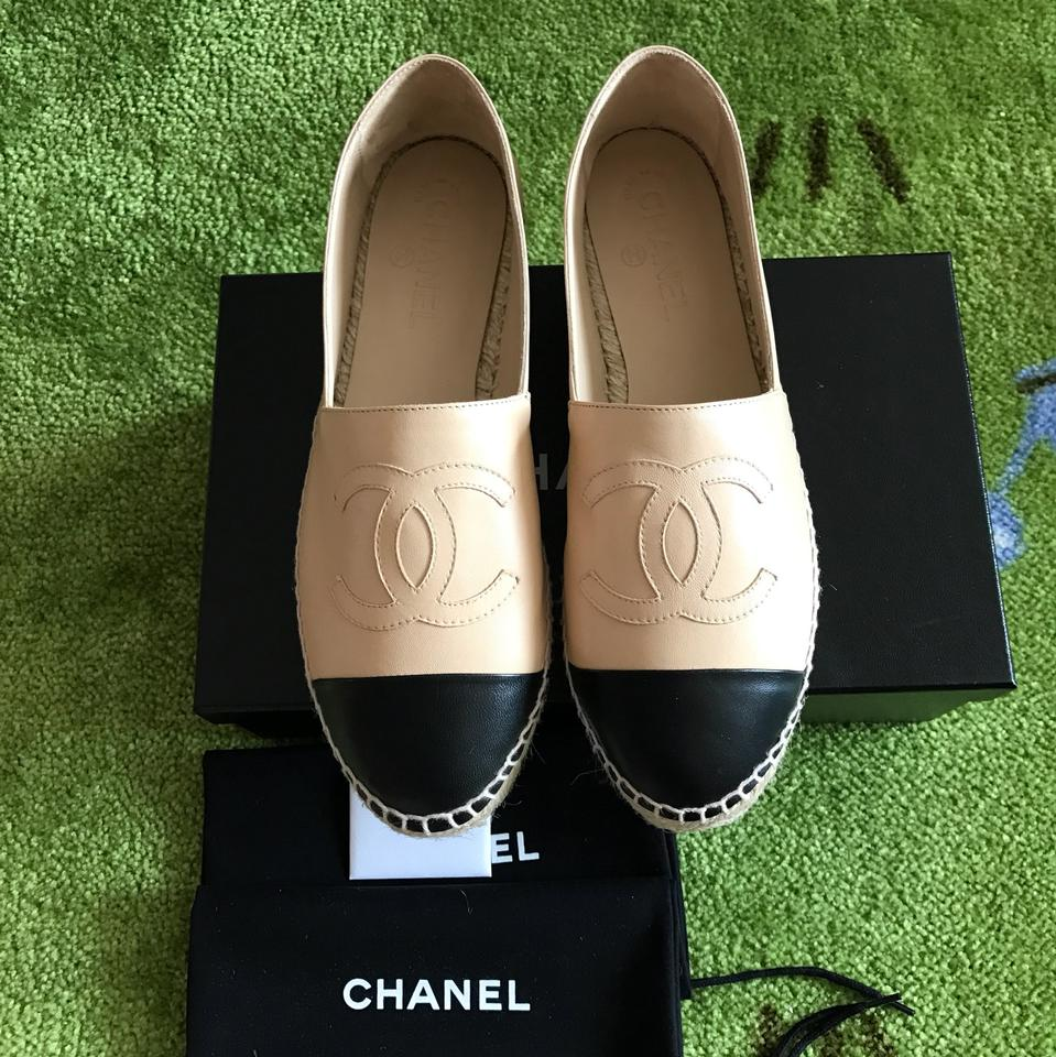 Chanel Beige Amp Black Lambskin Leather Espadrilles Flats