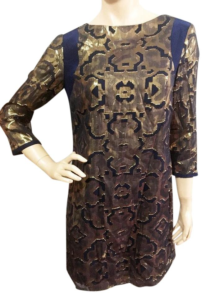 953c2883fed0 Alice   Trixie Gold Navy Silk Brocade Short Night Out Dress Size 6 ...