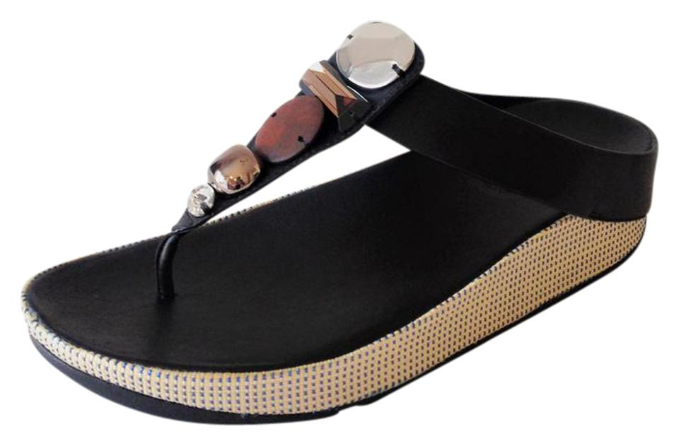 faa1b5b63 FitFlop Black New with Tags Jeweley Toe Post Flip Flops Sandals Size ...
