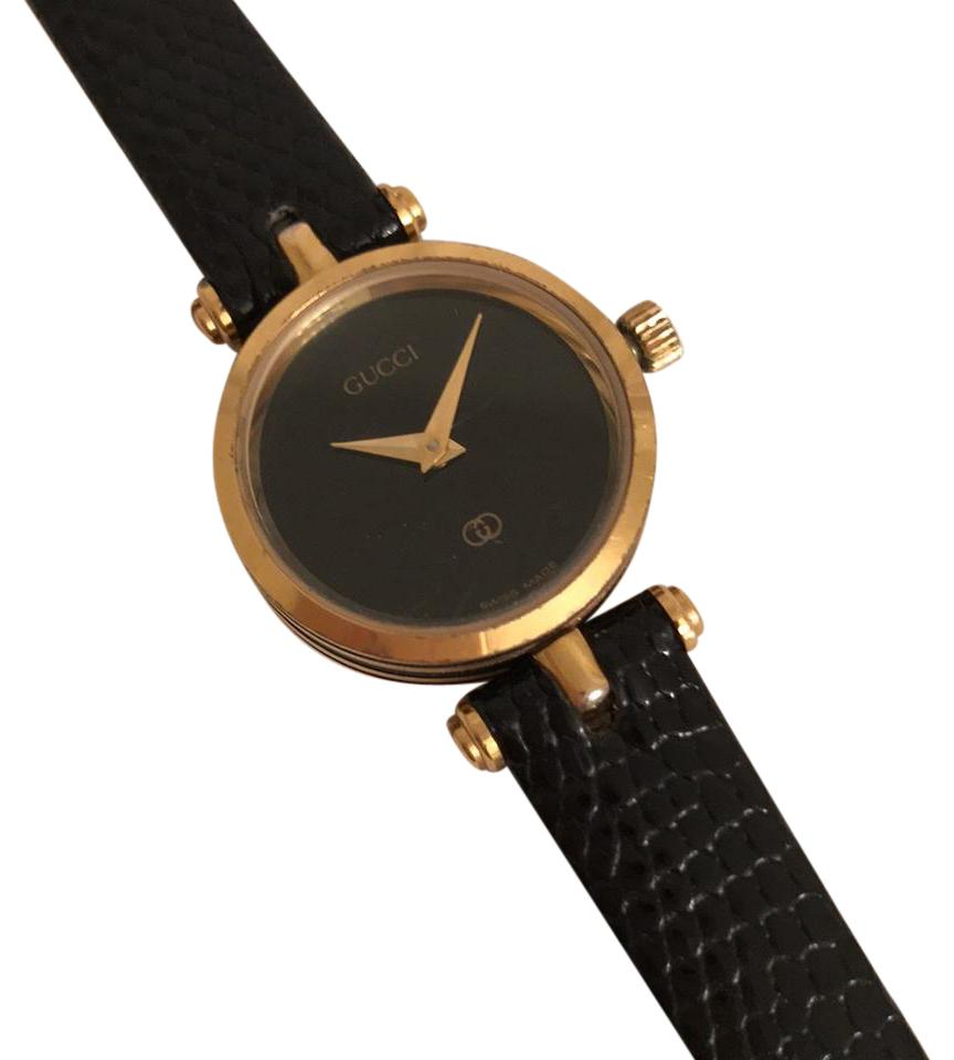 11aa6a7294465 Gucci Black Gold Women's 2000l Vintage Leather Band Watch 82% off retail