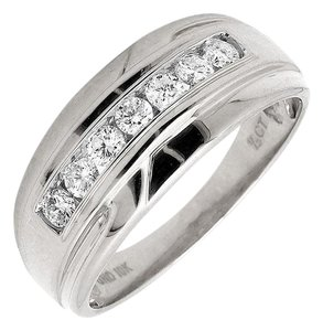 Other Mens 10K White Gold Genuine Diamond Wedding Ring Band 0.50ct