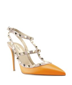 Valentino Leather Orange,Tan Pumps
