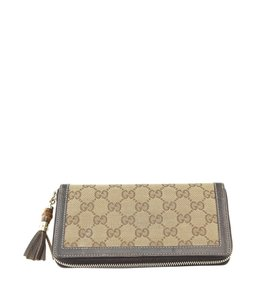 Gucci Gucci Brown GG Canvas & Leather Zippered Wallet (120192)