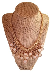 Lux Lux Fashion Gold Plated Statement Necklace Pale pink
