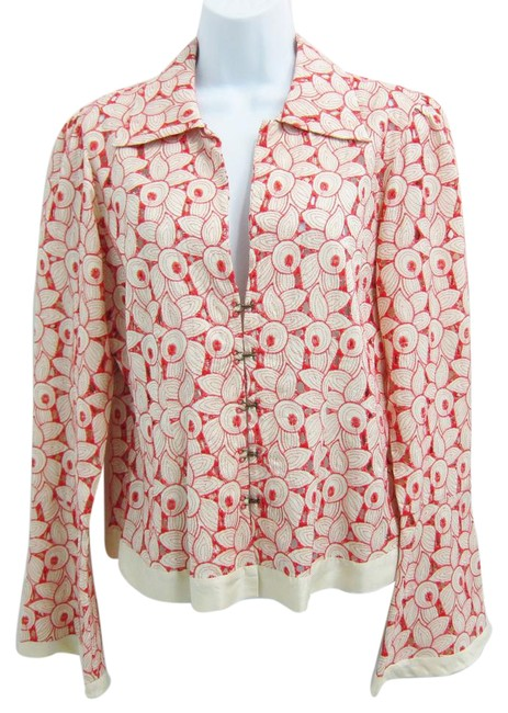 Item - Orange and Cream Cut Out Floral Hook Eye Closure Button-down Top Size 8 (M)